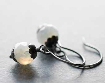 White Opal Czech Glass Earrings Sterling Silver Milky Glowing White