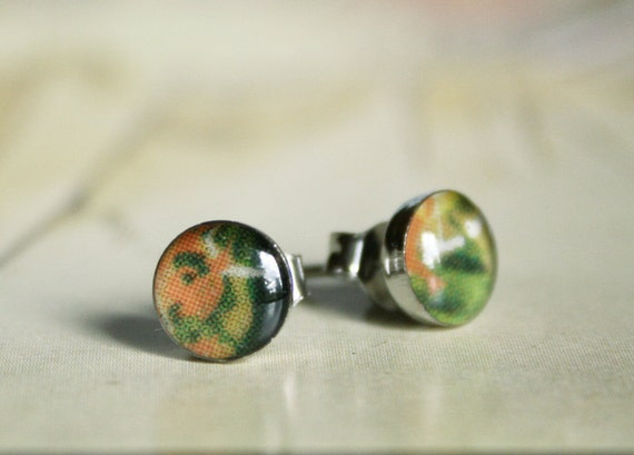 Tiger Lily Post earrings - Green Orange Fern Leaf Forest Resin Silver Post earrings