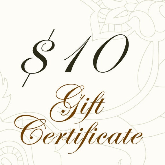 10.00 USD Gift Certificate