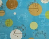 Monaluna Sewing Machine Print 1/2 Yard Destash Sew Happy