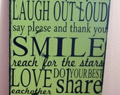Family Rules Typography sign-subway art, custom wood sign