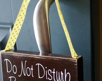 Do Not Disturb Baby Sleeping - door hanger - gender neutral - yellow