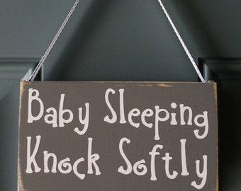 Knock Softly Baby Sleeping wood, vinyl door hanger, sign
