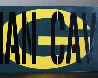 Custom MAN CAVE wood sign Green Bay Packers Man Cave wood sign - Bar sign