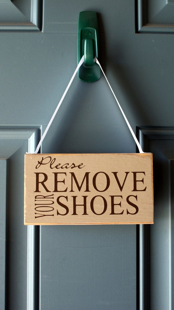 Please Remove Your Shoes Door Hanger Custom Wood By