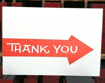 Thank You Arrow letterpress note cards