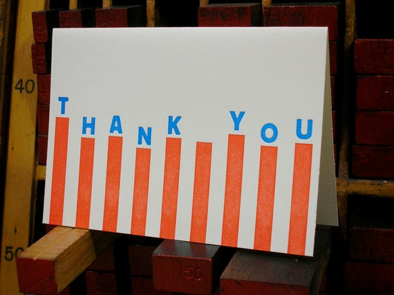 Thank You stripes letterpress note cards