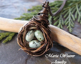 "Hummingbirds Nest Necklace with 25"" Chain and African Turquoise Eggs"