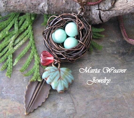 Nature's Treasure, Precious Handwoven Nest Necklace