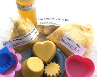 Lotion Bar Kit - Makes 12 Shea & Cocoa Butter Lotion Bars, Includes 5 Recipes - Kit - DIY Kit - Solid Lotion Bar - gift cards accepted