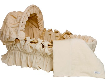 Bedding ONLY for Moses basket with Hood - 100% Organic Cotton Velour & Jersey
