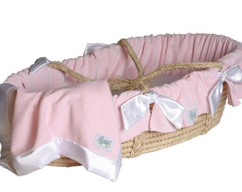 Moses Basket with Soft Pink Double Sided Chenille with White Satin