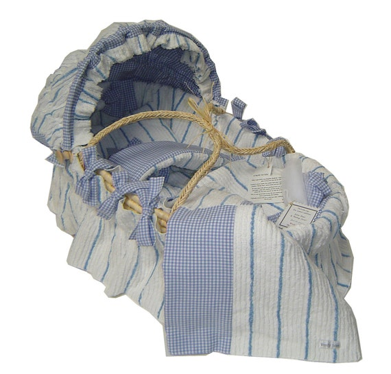 Bedding Only: White & Blue Stripe Chenille with Gingham for Moses basket