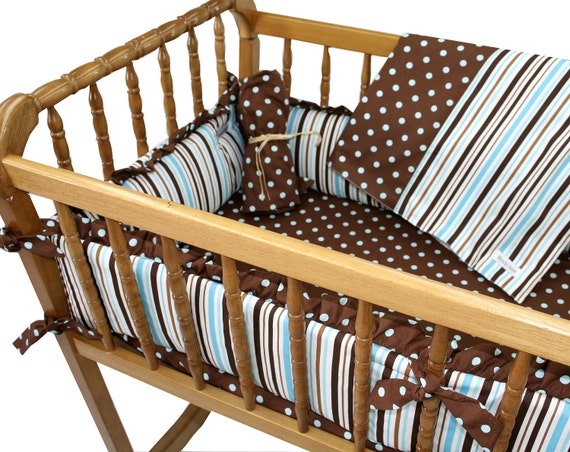 Cradle bedding in Modern Blue and Brown Striped with Blue Polka Dots