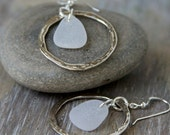 Genuine Sea Glass Jewelry Sea Glass Earrings Hammered Ring White Sea Glass