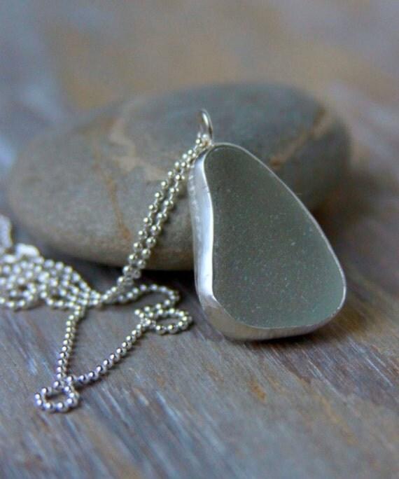 Sea Glass Pendant.  Simple Bezeled Seaglass Necklace.