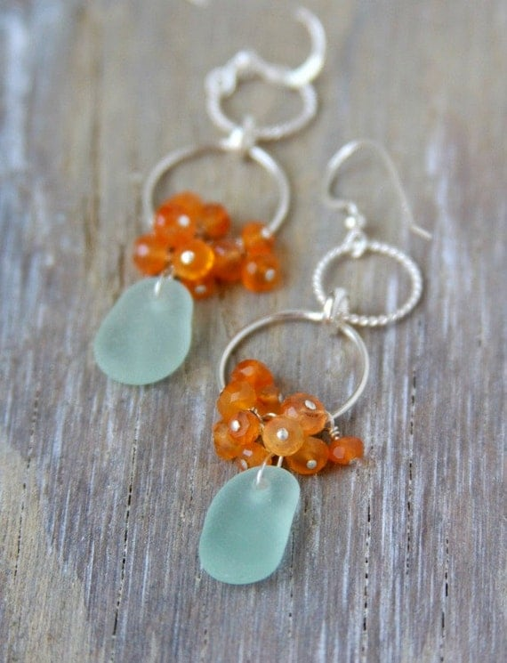 Sea Glass Earrings. Aqua Seaglass Chandelier Earrings with Carnelian