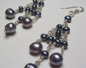 RESERVED Grey and Peacock freshwater Pearl Chandelier Earrings