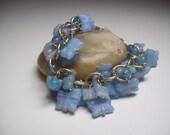 Powder Blue Butterfly Glass Charm bracelet