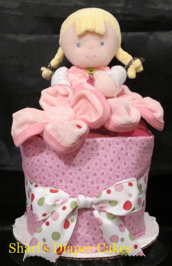Pretty in Pink Doll 1-Tier Diaper Cake - Baby Gift - Baby Shower Centerpiece