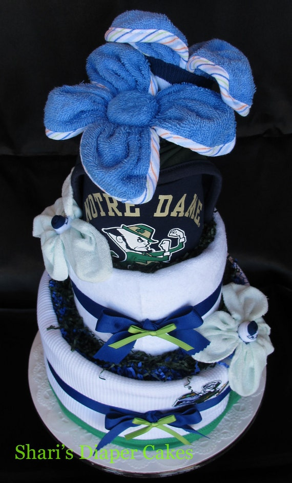 Notre Dame Sports 3-Tier Diaper Cake - Baby Shower Centerpiece - Baby Gift