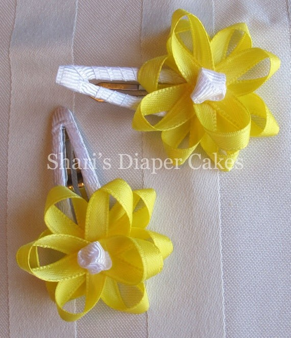 White & Yellow Satin Flower Ribbon Snap Hair Clips