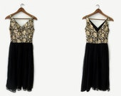 vintage 60s party dress, metallic brocade and chiffon, size xs