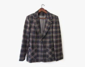 vintage 70s wool jacket, grey plaid blazer, size m