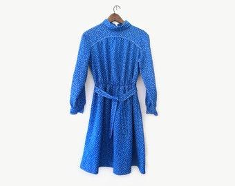 vintage 60s dress, bright blue geometric print, bleeker street, size s m