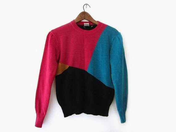 vintage 80s sweater, colorblock acrylic knit pullover, size s