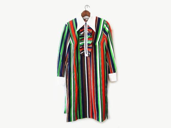 vintage 60s shift dress, 1960s mod dress, primary striped dress, 60s deadstock dress, size s small