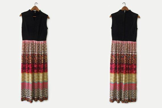 SALE - vintage 70s maxi dress, bright ethnic tribal print sundress, size m l