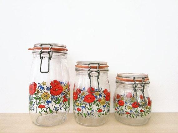 vintage bright floral canister set, arc of france glass storage jars