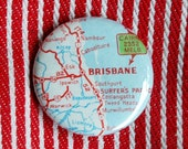 Vintage Brisbane Map Button 1.25 inch