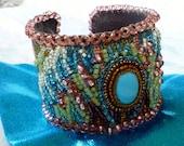 Primavera Azul- Beaded Tapestry Cuff