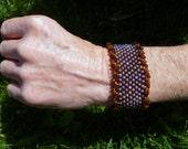 Bead Woven Bracelet- Sparks in the Dark