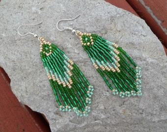 Beaded Earrings- Green Arrow
