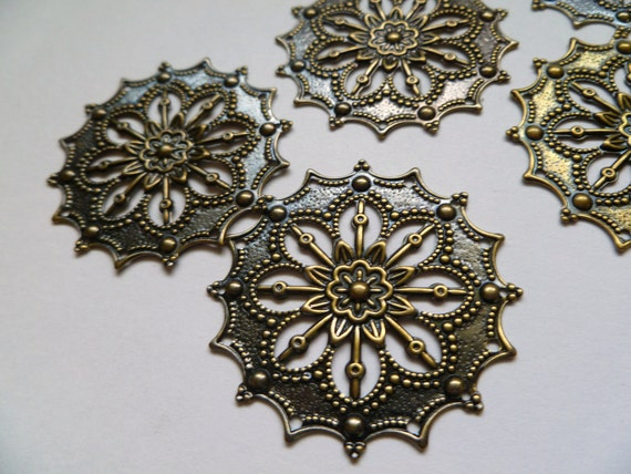 Floral Filigree Component- Antique Brass Discs