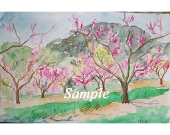 Peach Orchard and Mountain in Watercolor