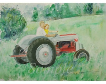 Girl and her Dad on a Tractor