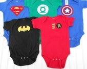 READY TO SHIP Onesie - Super Hero Deluxe Set (Superman, Green Lantern, Avengers Captain America, Batman and Robin)