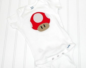 Great Halloween Costume READY TO SHIP Great Costume / Baby Shower Gift bodysuit Super Mario Mushroom Toad Inspired sewn cotton applique