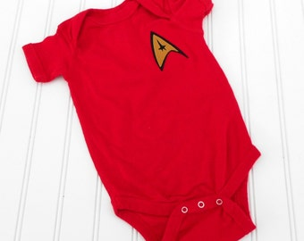 READY TO SHIP Great Costume /  Baby Shower Gift bodysuit - Star Trek inspired sewn cotton applique for boys or girls