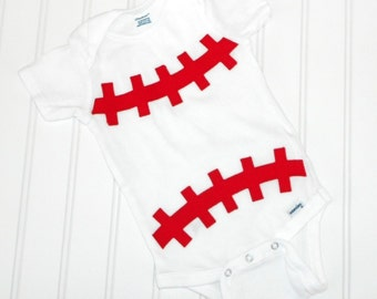 READY TO SHIP Great Costume / Baby Shower Gift bodysuit - Baseball sewn applique