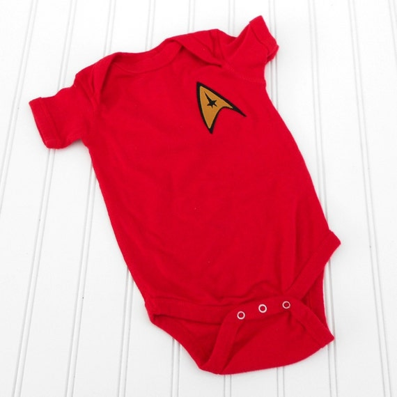 Great Halloween Costume READY TO SHIP Great Costume /  Baby Shower Gift bodysuit - Star Trek inspired sewn cotton applique for boys or girls