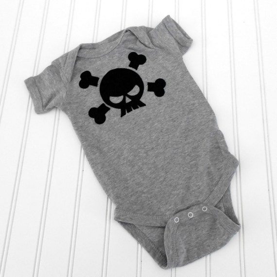 READY TO SHIP Great Costume / Baby Shower Gift bodysuit - Skull sewn cotton applique