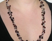 Silver and Garnet Crocheted Necklace and Earrings