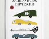 American Racing Drivers Club, Race Car Art by ModernPOP - Art for Kids Room