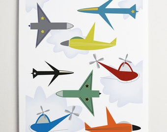 Come Fly with Me, Airplane Art by ModernPOP - Art for Boys - Playroom art - Retro Airplane - Baby Boy Wall Decor
