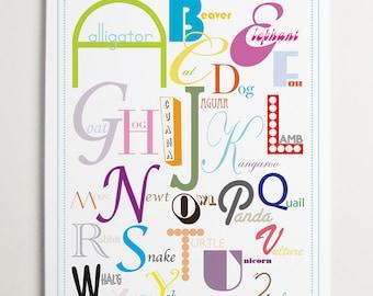 ABC Animal Wall art - Alphabet Letters - Wall Art for Kids - Playroom Kids Art - Toddler Girl - Toddler Boy